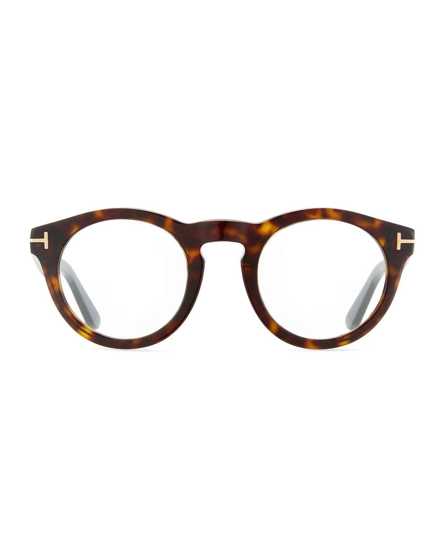 Tom Ford Soft Rounded Acetate Optical Frames Dark Havana Black