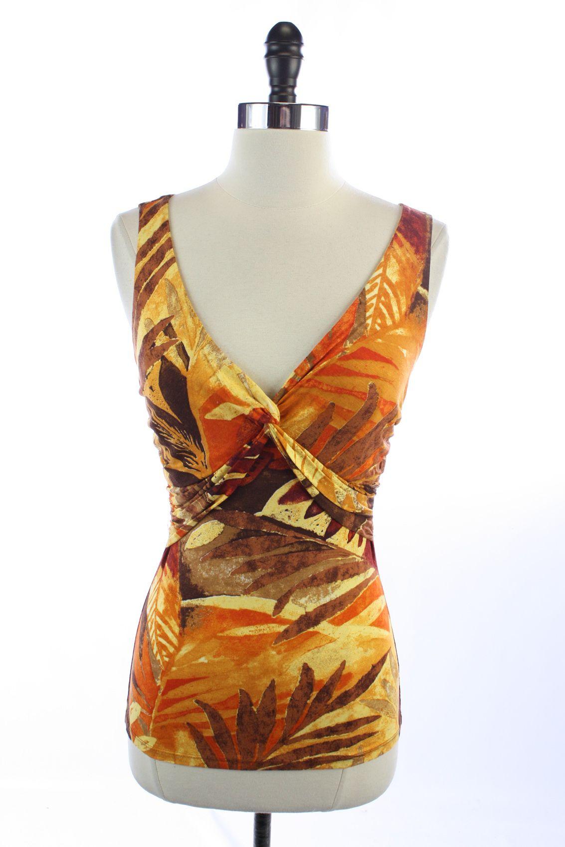 CACHE Orange Brown FLORAL Keyhole V-NECK Sleeveless TOP Shirt BLOUSE S