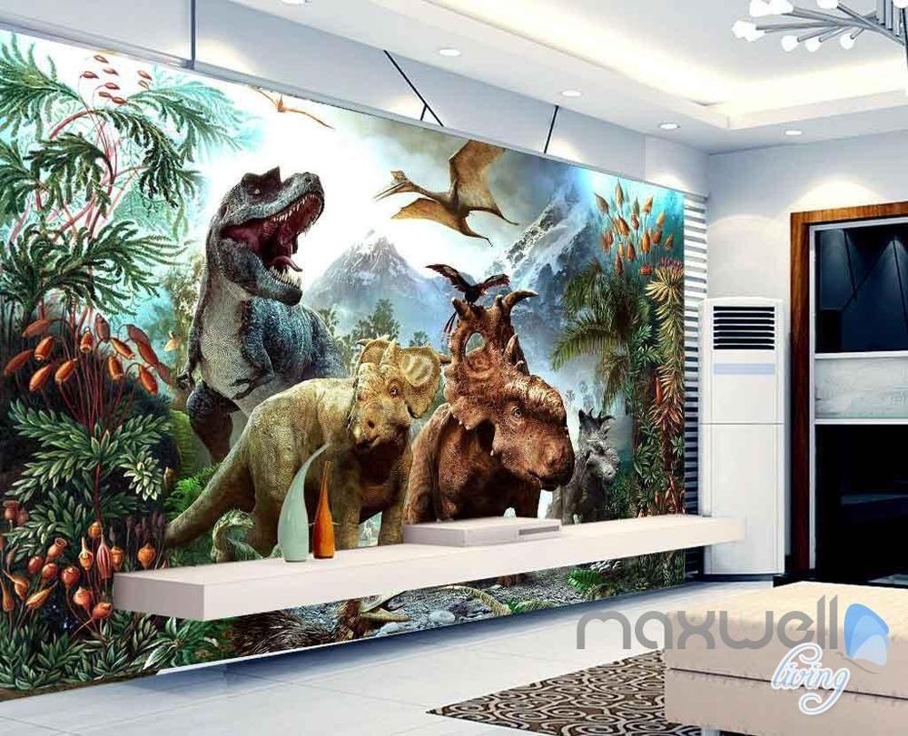 Details About 3D Dinosaurs Mountain Wall Murals Wallpaper