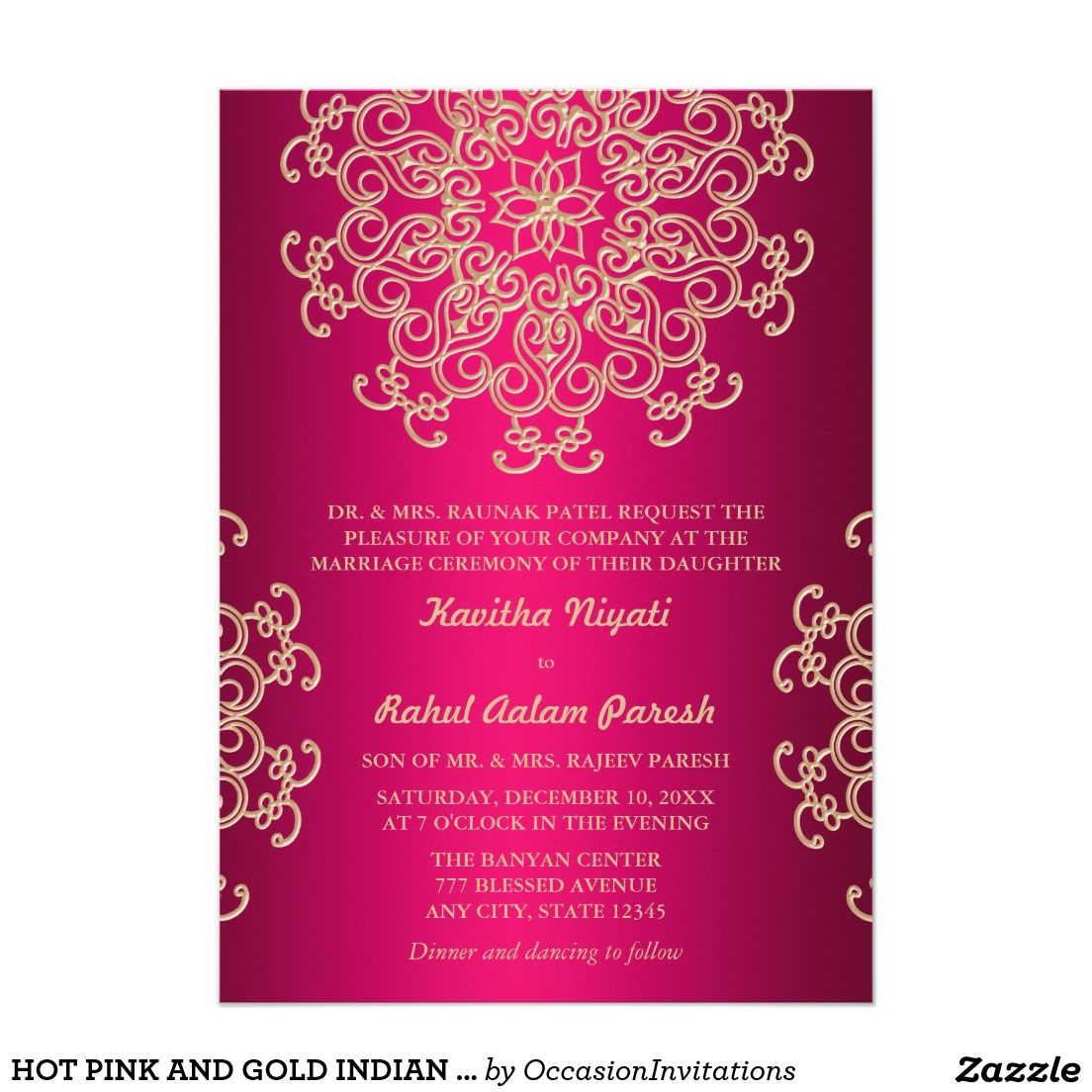 pink invitation card