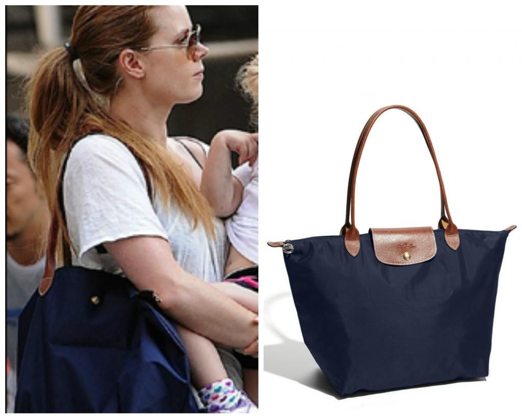 56bfdddcbe61 Celebrity diaper bags  Amy Adams Longchamps Le Pliage bag