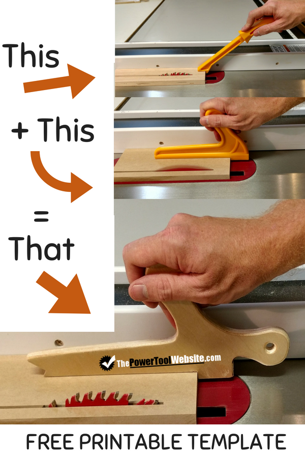 graphic about Table Saw Push Stick Printable Template called Combo Drive Adhere - Press Shoe For Your Desk Noticed