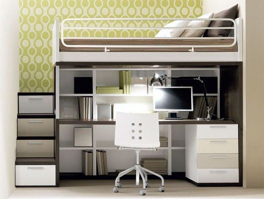 Full loft bed with desk and stairs - Desk : Interior Design ...