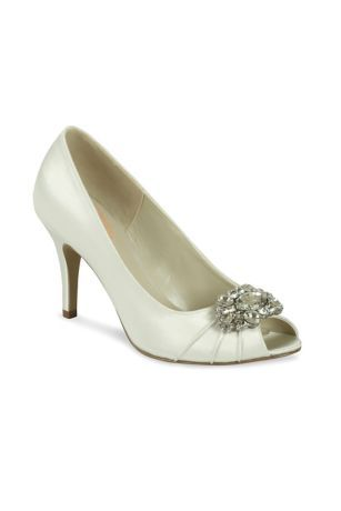 7cfb860e148 A crystal detail at the toe gives these stunning satin peep toe heels a  dazzling touch