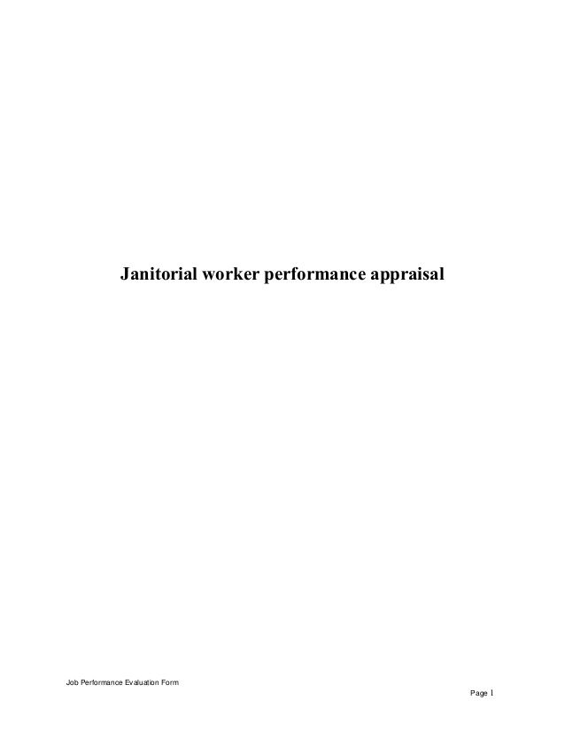 Janitorial Worker Performance Appraisal Job Performance Evaluation
