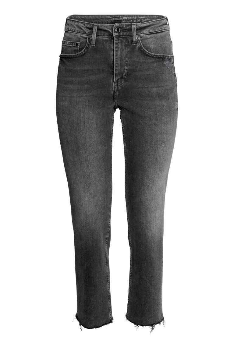 b4e9d52474 Straight High Ankle Jeans - Denim negro - MUJER