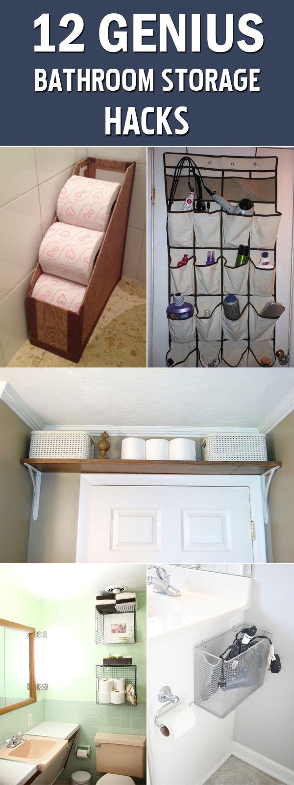 12 Genius Bathroom Storage Hacks   Baño, Muebles de la india y Baños