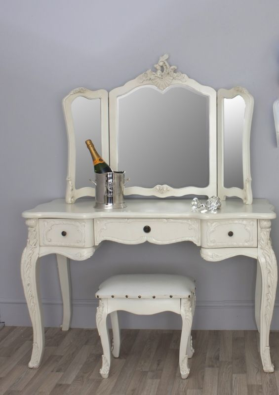 A Gorgeous French Provincial Style Cream Dressing Table Free Standing Three Fold Mirror And Small Stool All Finished In Antique White