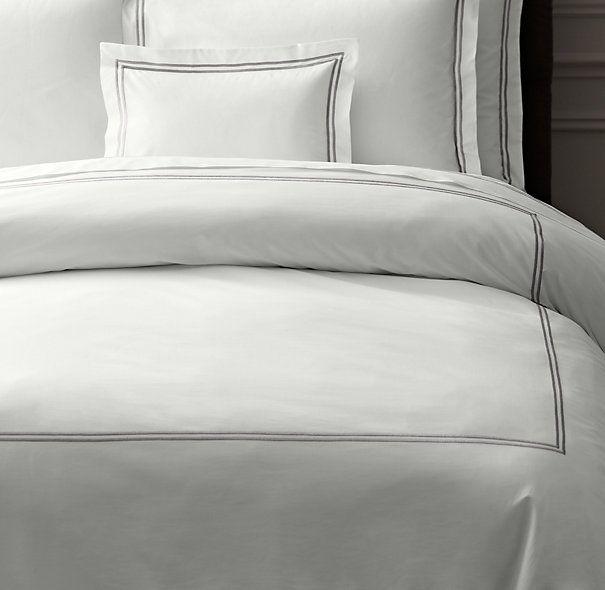 Final Choice Duvet/shams Italian Hotel Satin Stitch White Duvet Cover