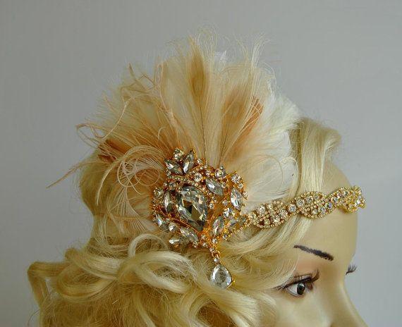 Oro de oro 1920 gatsby casco chamagne diadema cristal aleta