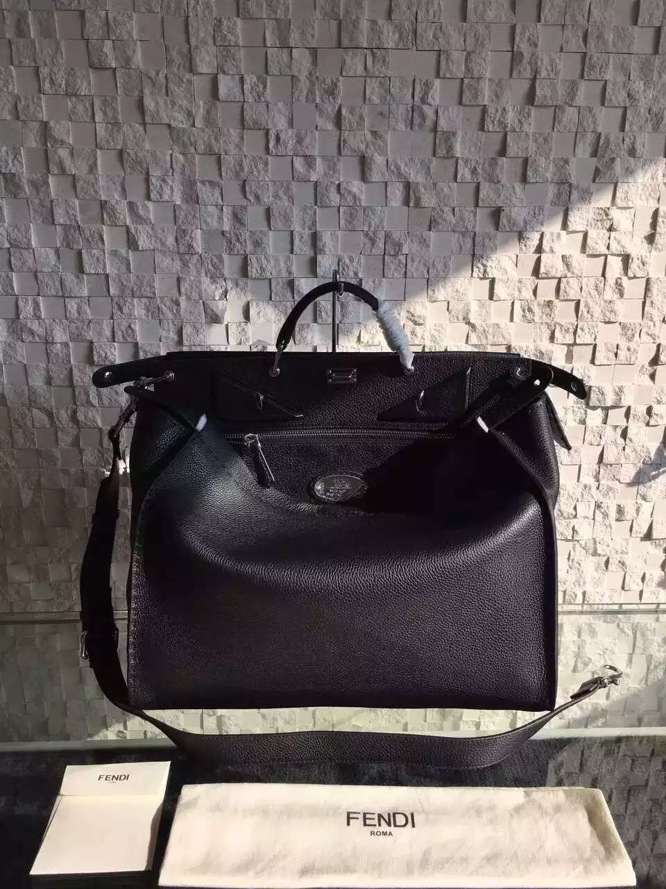 48ac67e8a4f4 Fendi Roman Leather Large Peekaboo Handbag For Men with Raw Edging and Bag  Bugs Eyes Black 2016