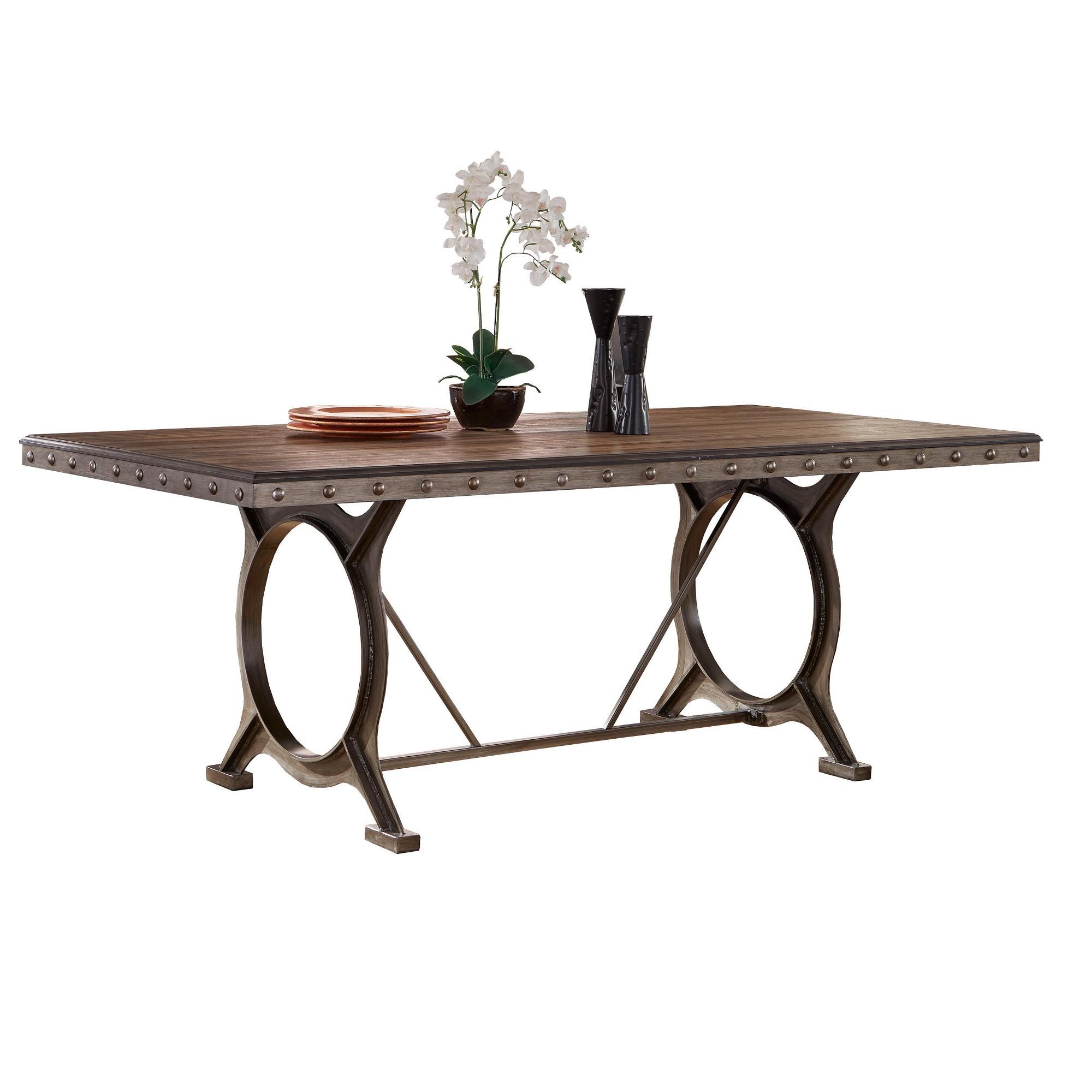Paddock Wood Metal Dining Table Brushed Steel Distressed Brown