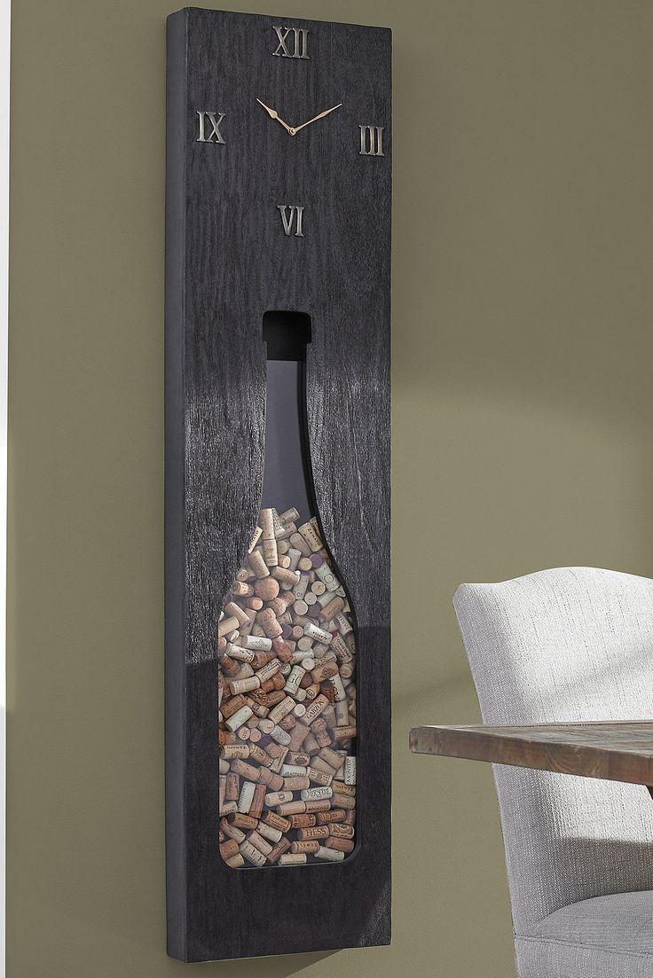 Photo of Holz und Messing Cork Catcher Wanduhr #woodfeaturewalls Holz und Messing Cork Ca…