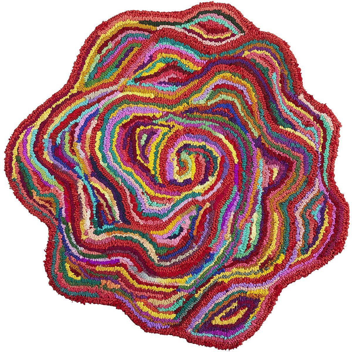 Chindi flowershaped rug rainbow rug floral rug rugs