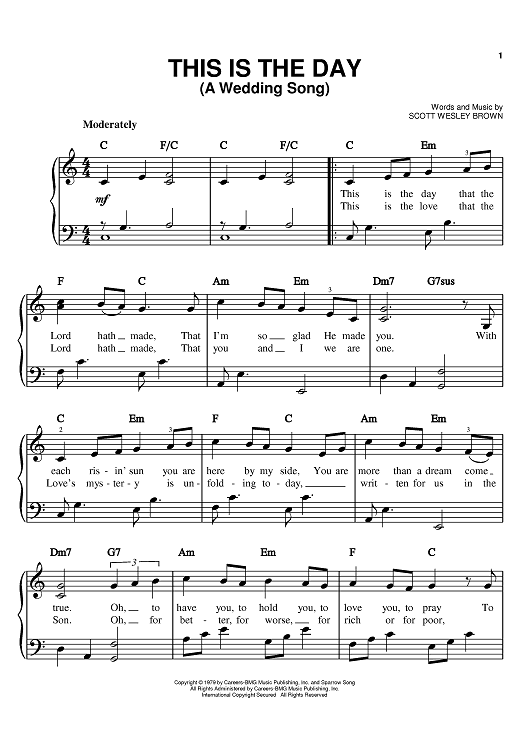 This Is The Day A Wedding Song Sheet Music By Scott Wesley Brown