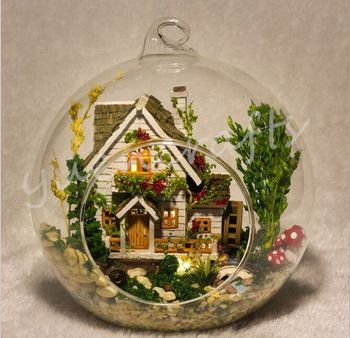 Forest Home~Fairy Garden Terrarium With Led Lamp~Creative Glass Terrarium~Glass  Globe