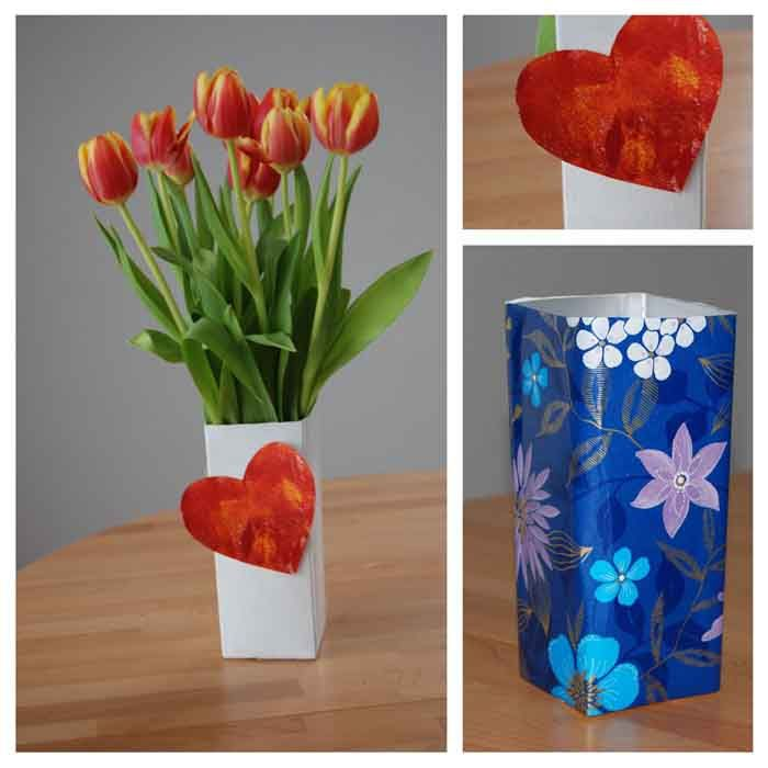 Recycling ideen basteln  upcycling ideen recycling basteln tetrapack blumenwase | DIY - Do ...