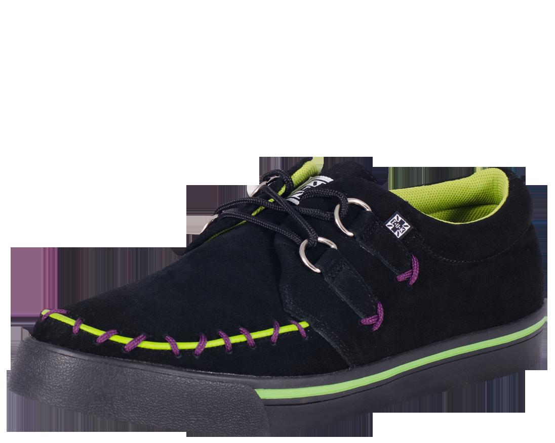f4b2aec00a1 T.U.K Shoes - Black Suede Monster Stitch 2 Ring Creeper Sneaker