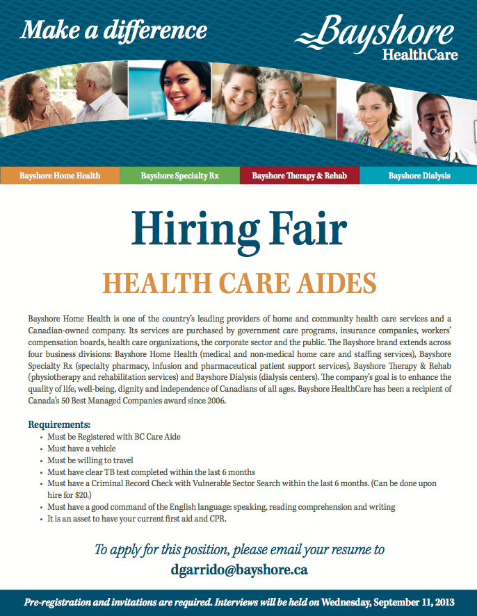 We're holding a Hiring Fair for HealthCare Aides in