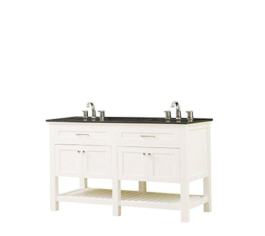 Direct Vanity Sink 60D8-Wbk Preswick Spa Granite Vanity Top in Black with  White Basin