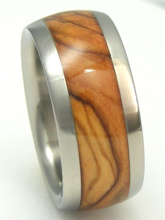 mens bethlehem holy land olive wood titanium ring by usajewelry 18900 - Wooden Wedding Rings For Men