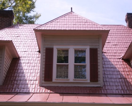 Middle Dormer With Curtains Shutters And Red Shingle Roof By Roof Menders Shingling Roof Shingles Roof