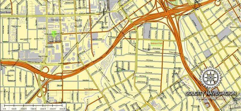 San Diego Tijuana vector maps for printing USA Printable AI