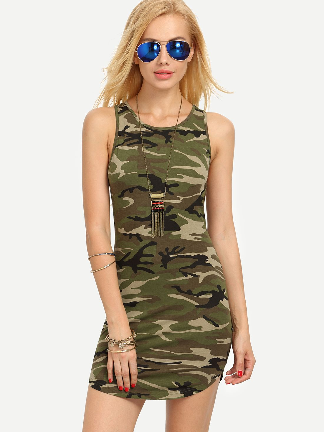 7c77333158d Shop Multicolor Camouflage Sleeveless Bodycon Dress online. SheIn offers…