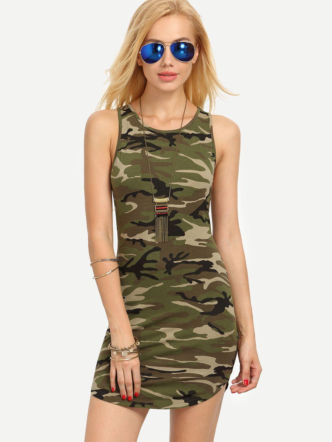 e8868eb6ef39e Shop Multicolor Camouflage Sleeveless Bodycon Dress online. SheIn offers…