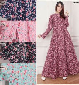 Model Baju Gamis Katun Jepang Motif Bunga G10106 Cantik November