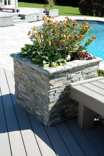 Stacked Stone Planter Stone Planters Backyard Makeover Planters