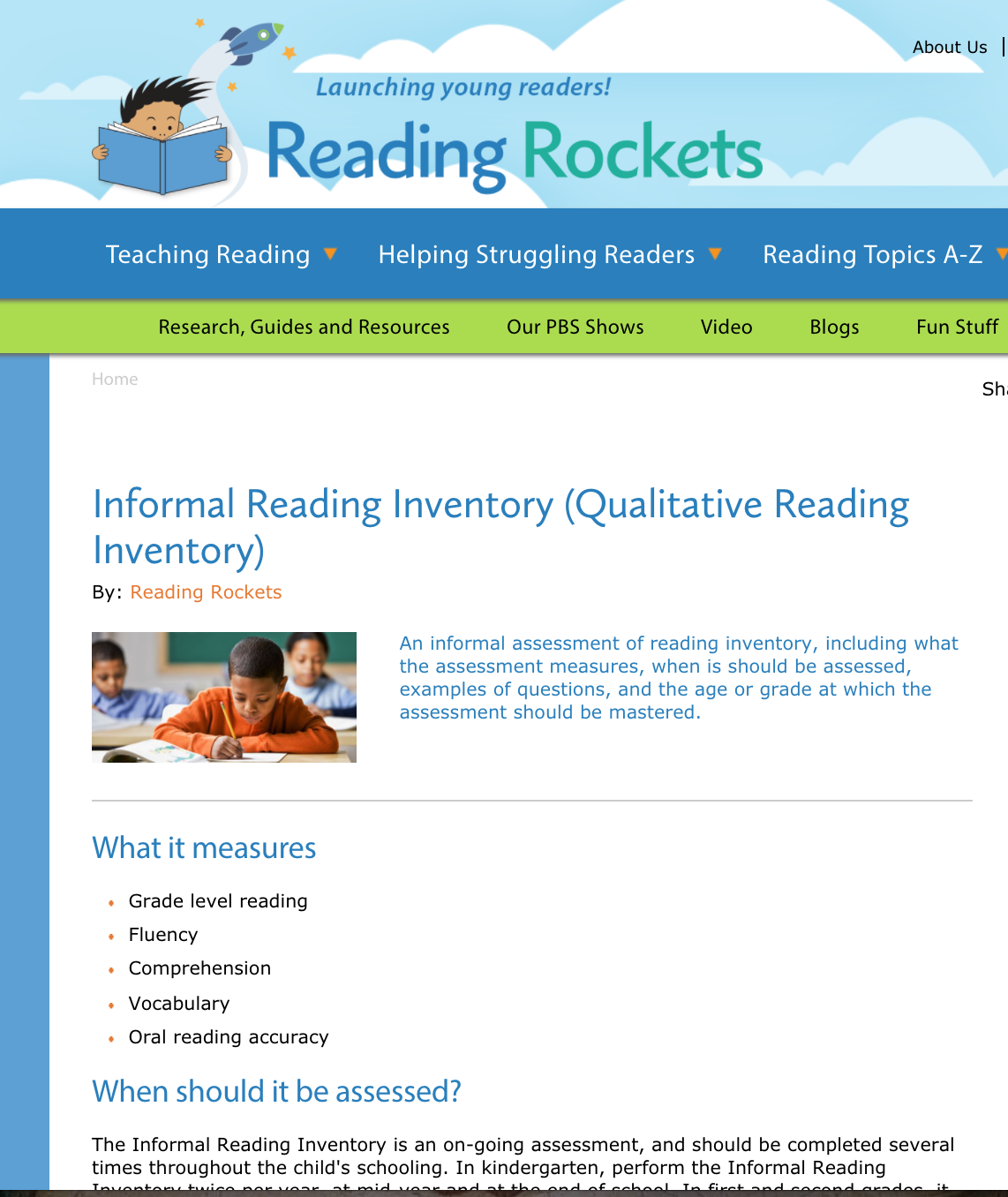 Assessment Informal Reading Inventory Qualitative Reading
