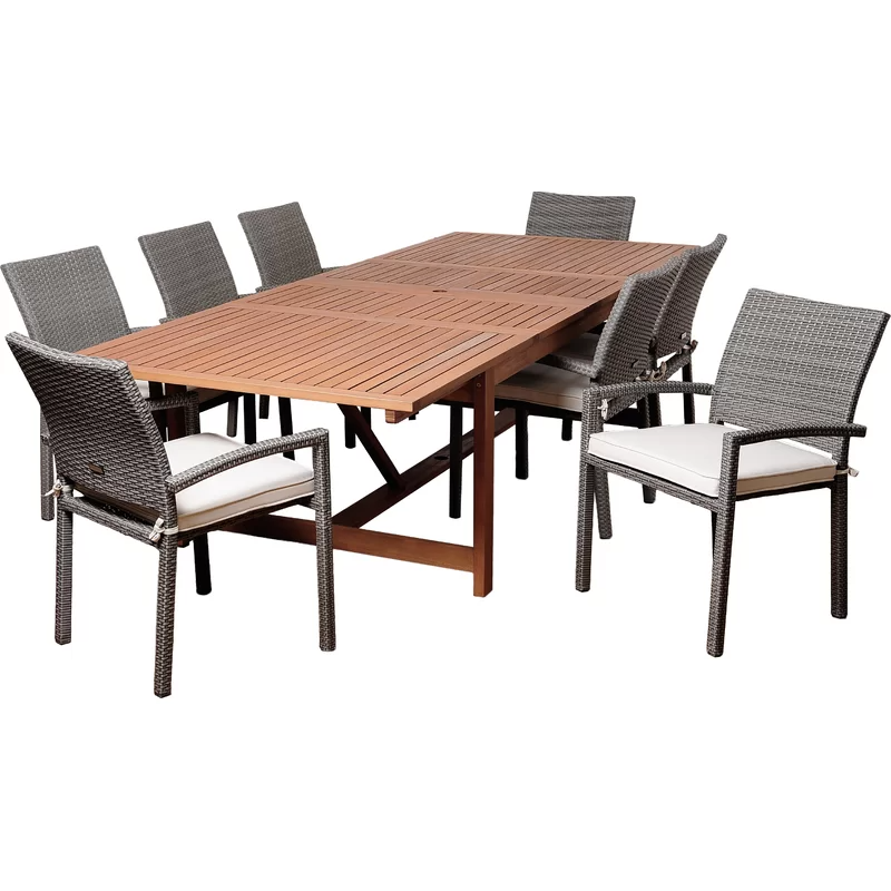 Lorelai 9 Piece Dining Set With Cushions In 2020 Wicker Dining Chairs Dining Set Solid Wood Table Tops