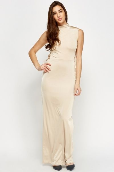 Lace Up Side High Neck Maxi Dress