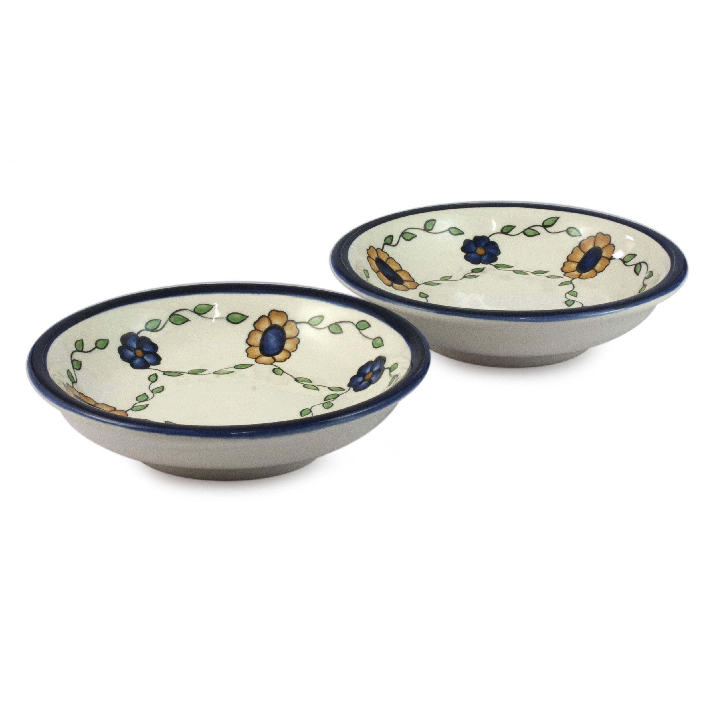 set of  handmade ceramic 'margarita' dinner bowls (guatemala) by  - novica set of  handcrafted ceramic 'margarita' dinner bowls