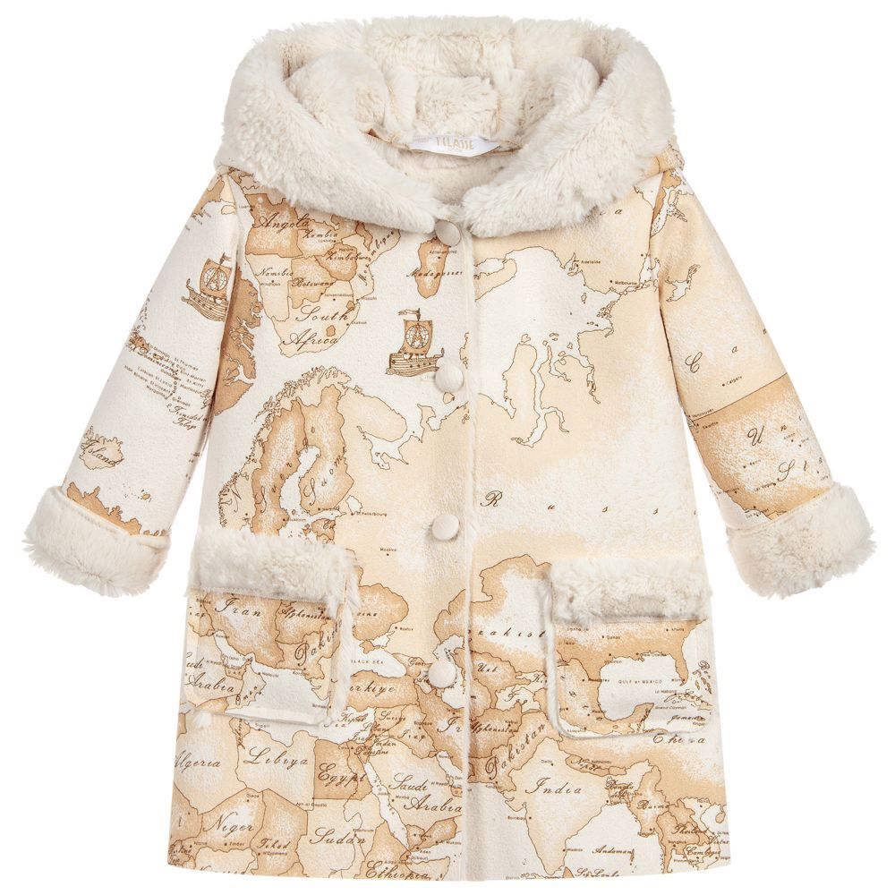 29d61ae01 Girls Geo Map Hooded Coat