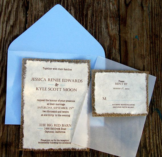 Burlap Wedding Invitations, Wedding