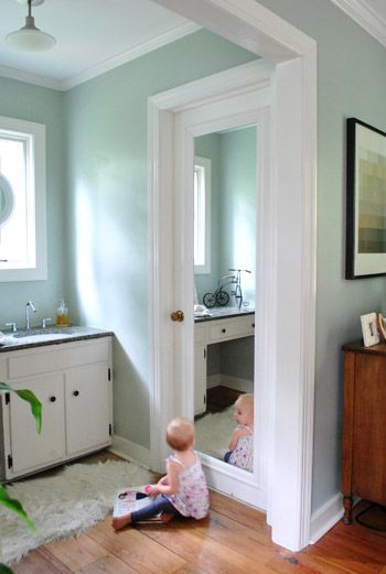 Framing Out A Mirror That S Mounted On A Door Young House Love Home House Bathroom Doors