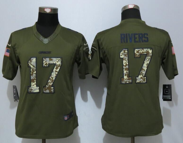 Women New Nike Los Angeles Chargers 17 Rivers Green Salute To Service  Limited Jersey 19921fc72