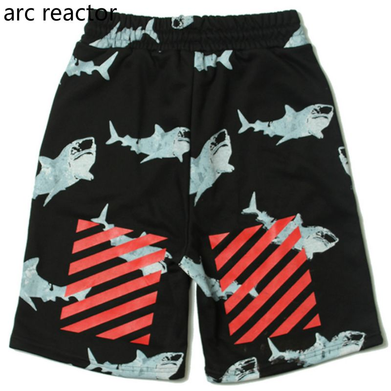 8b4df2f01e75 Off White Shorts1  1 High Quality Basic Shark Prints Wall Brush Movement  Leisure Hip-Hop Men Women Virgil Abloh Off White Shorts