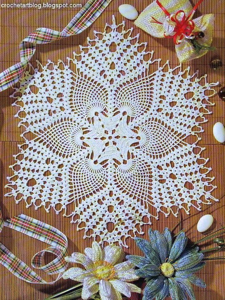 Crochet Art Free Crochet Doily Pattern Tablecloth Trilhos