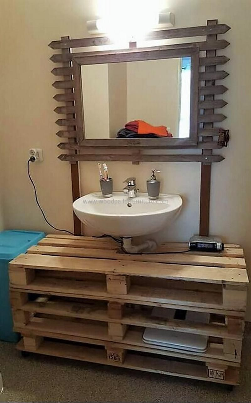 pallets wood sink and mirror cabinet   Pallet furniture ...