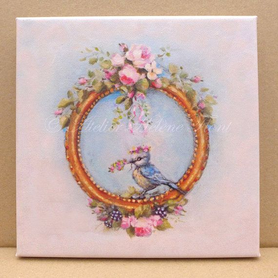 Baby Bird Blue Tit with rose crown, nursery, birth gift, after an Original oil  painting  Helen Flont CANVAS PRINT -
