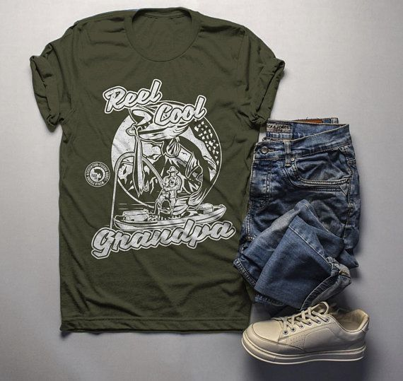 377322ab Men's Grandpa Gift Funny Reel Cool Fishing T-Shirt Father's Day Fisherman  Shirt