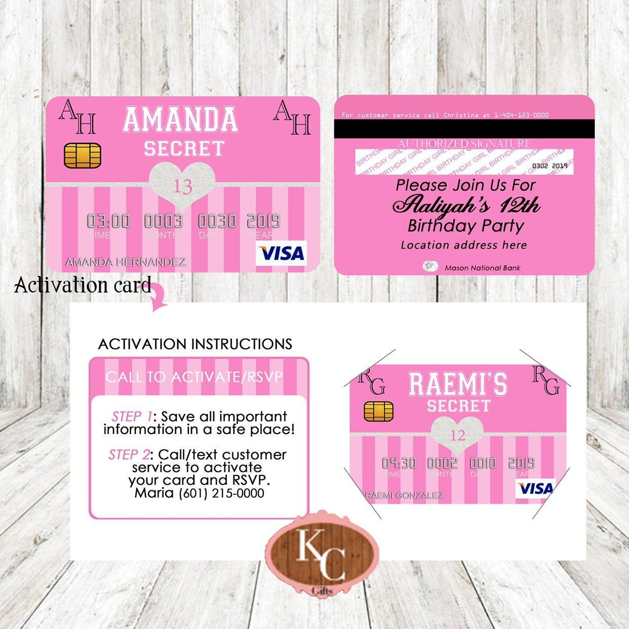 Party Pink Decorations, Credit Card Invitation, Pink