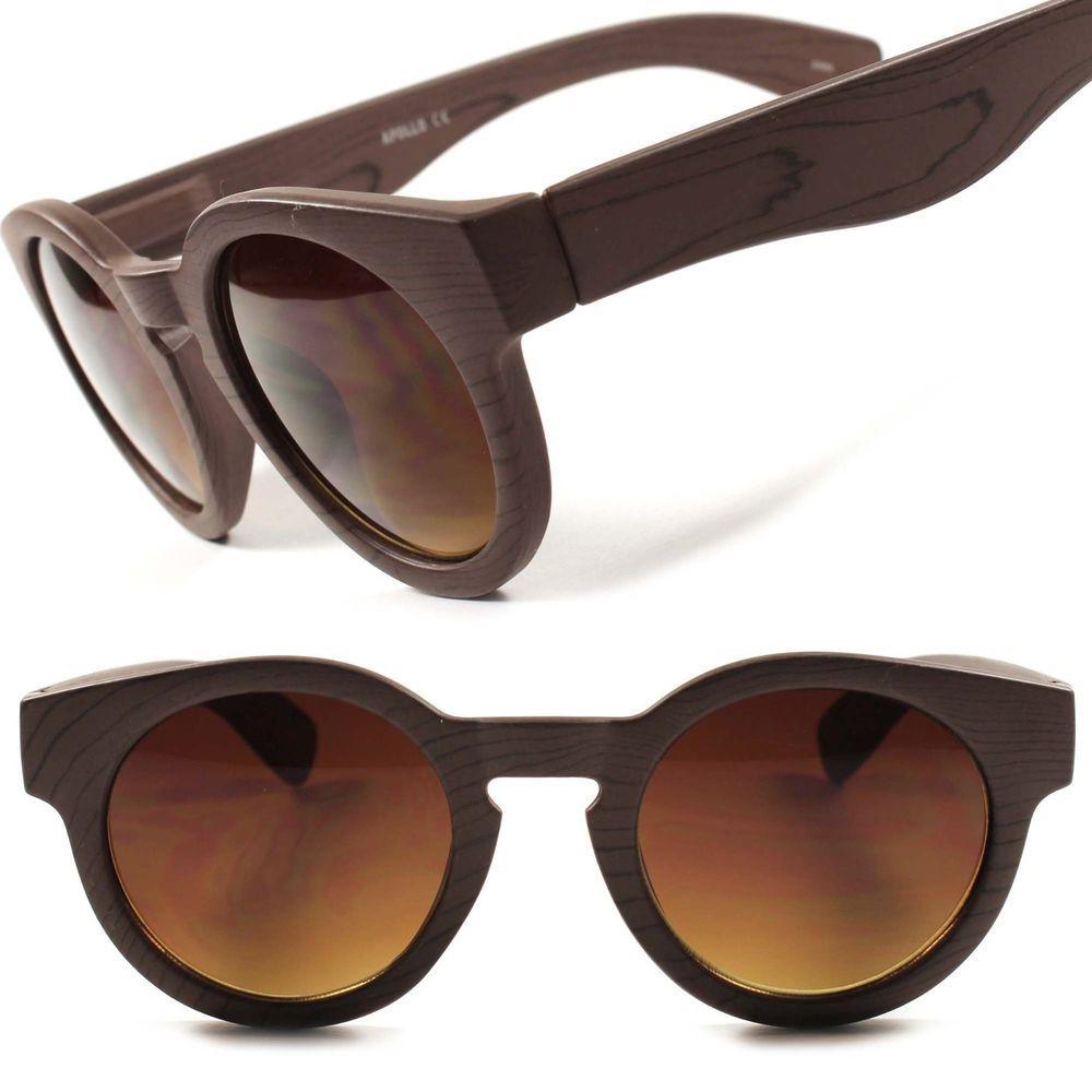 1afe58b600 Celebrity Designer Vintage Retro Hipster Wood Effect Cool Round Sunglasses  C80B