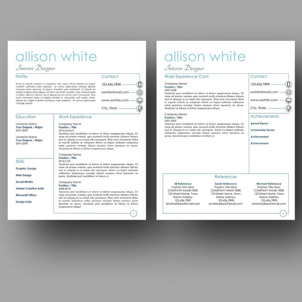 Modern resume template two page cover letter use