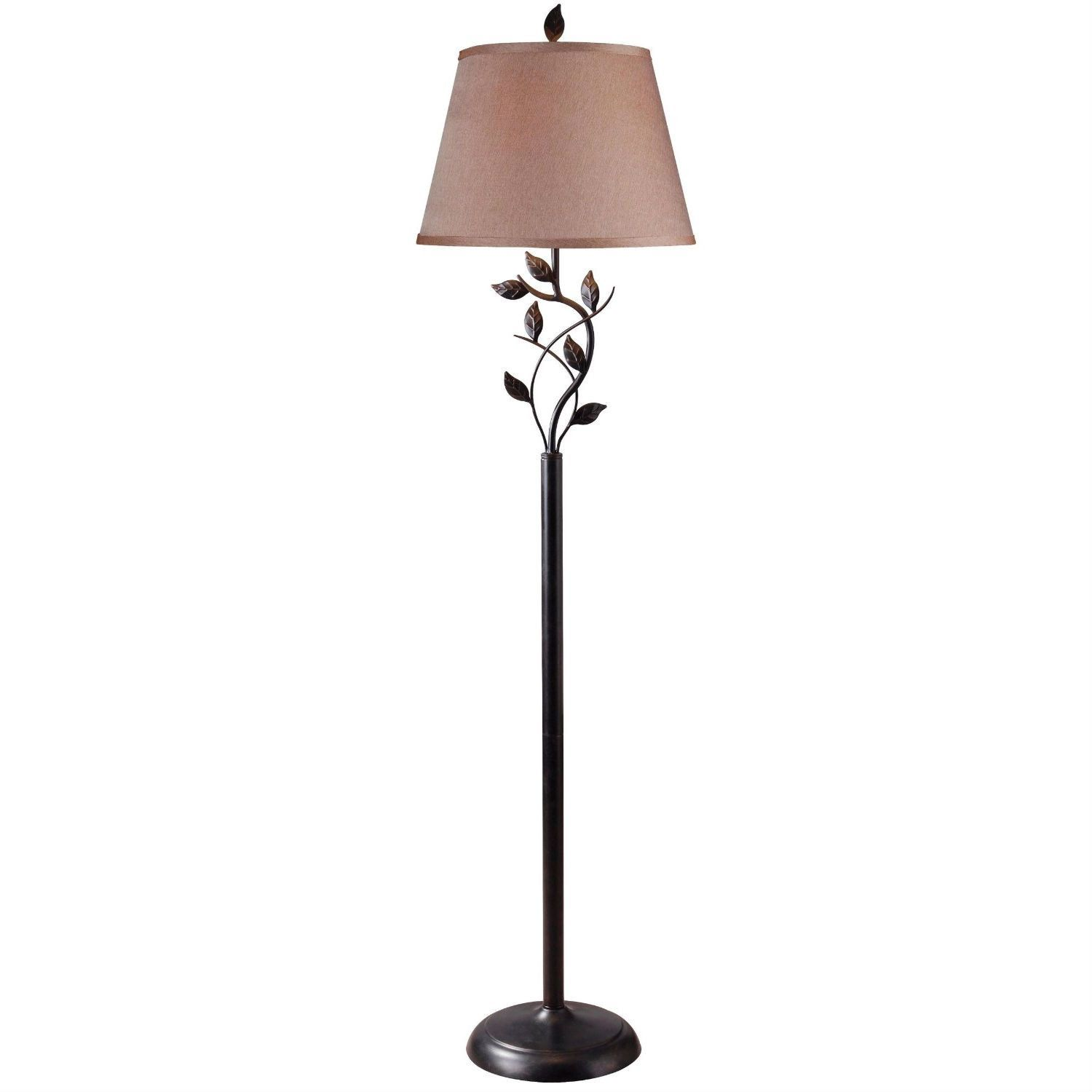 Vine leaves rubbed bronze finish floor lamp with 15 inch gold vine leaves rubbed bronze finish floor lamp with 15 inch gold tapered shade aloadofball Choice Image