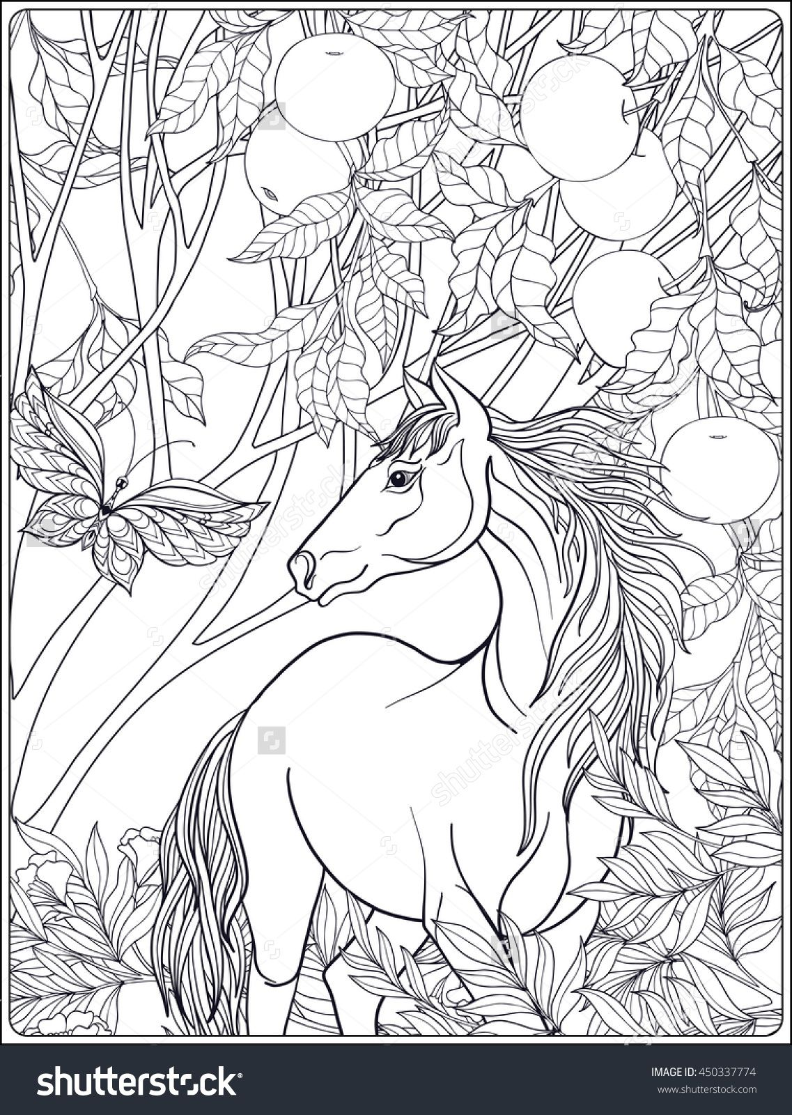 horse in the forest coloring page for adults Shutterstock 450337774 ...