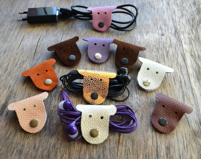 Leather cord wrap cat Cord holder cord organizer earbud holder leather cord organizer cat lover gift earphone holder gift under 10